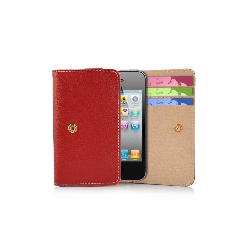 etui rabattable portefeuilles rouge pour iphone 4 et 4s. Black Bedroom Furniture Sets. Home Design Ideas