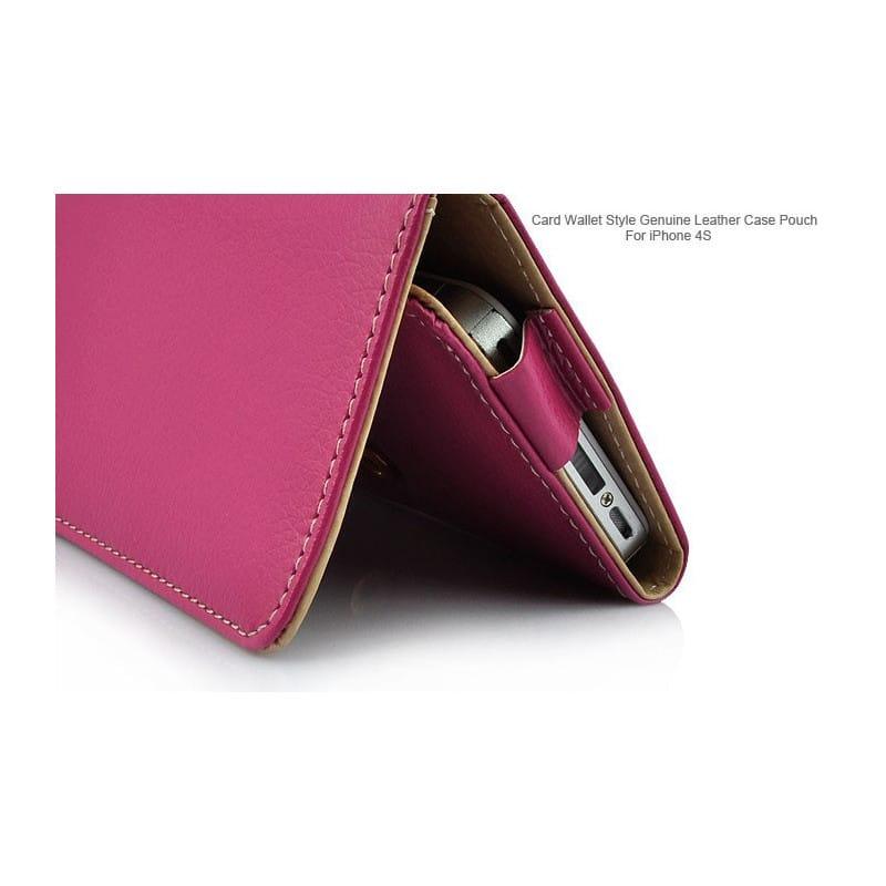 etui rabattable portefeuilles rose pour iphone 4 et 4s. Black Bedroom Furniture Sets. Home Design Ideas