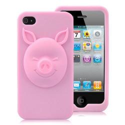 """Coque """" 3D PIG """" rose pour Iphone 4 et 4S"""