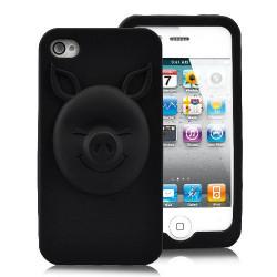 """Coque """" 3D PIG """" noire pour Iphone 4 et 4S"""