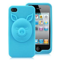 """Coque """" 3D PIG """" bleue pour Iphone 4 et 4S"""