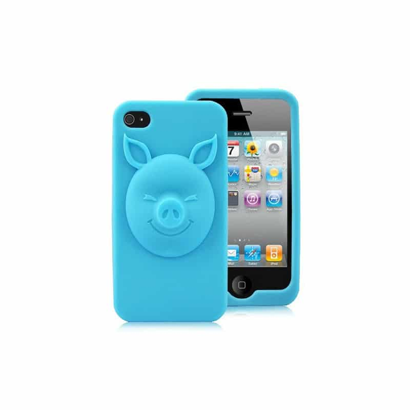coque 3d pig bleue pour iphone 4 et 4s. Black Bedroom Furniture Sets. Home Design Ideas