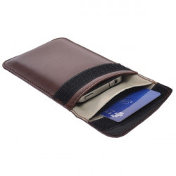 Etui cuir marron anti-radiation pour telephones portables