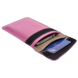 Etui cuir rose anti-radiation pour telephones portables