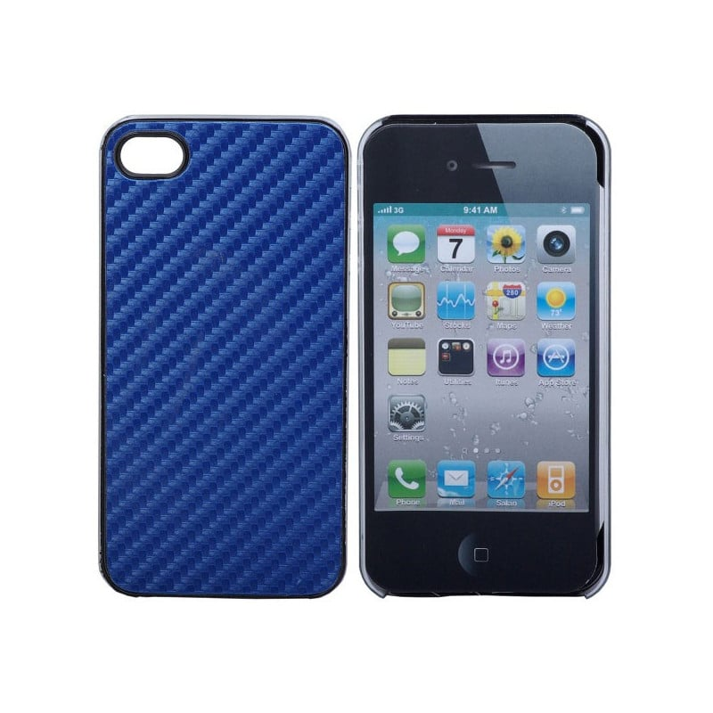 coque carbone 2 bleue pour iphone 4. Black Bedroom Furniture Sets. Home Design Ideas