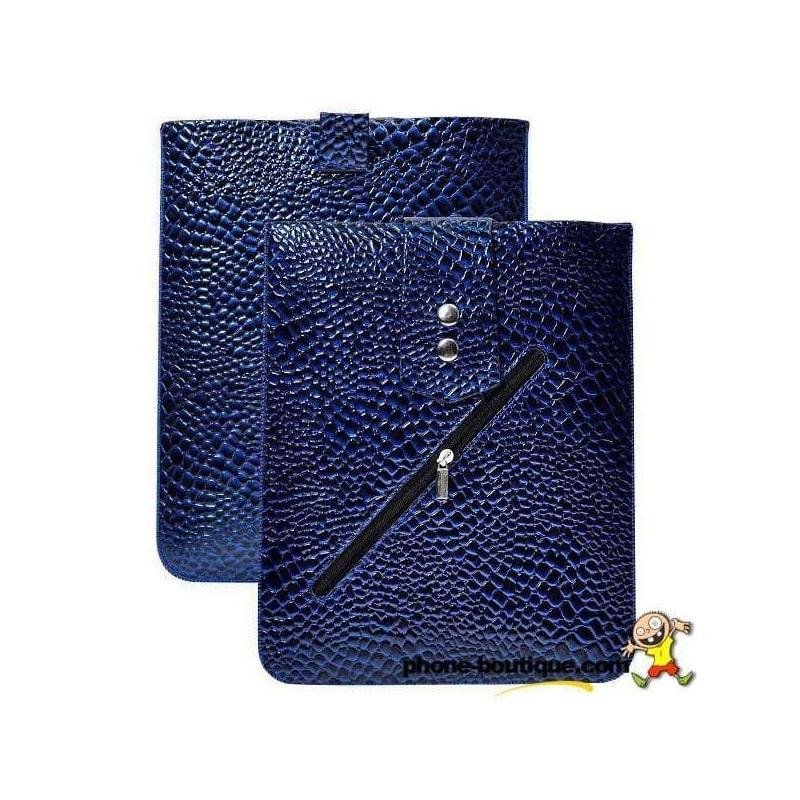 pochette en rabattable bleue croco pour ipad. Black Bedroom Furniture Sets. Home Design Ideas