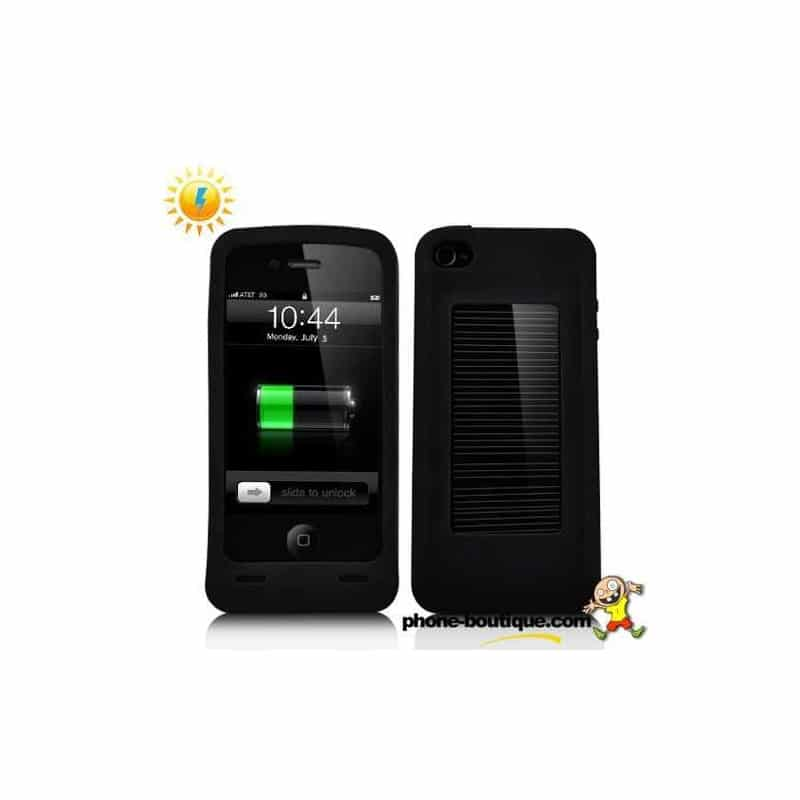 coque batterie solaire 2000 mah noire pour iphone 3 4 et 4s. Black Bedroom Furniture Sets. Home Design Ideas