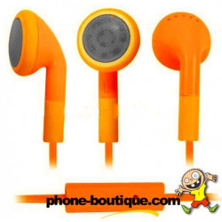 Ecouteurs oranges pour téléphones et lecteur multimedia