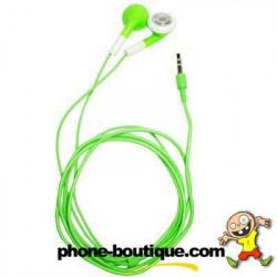 Ecouteurs verts pour téléphones et lecteur multimedia