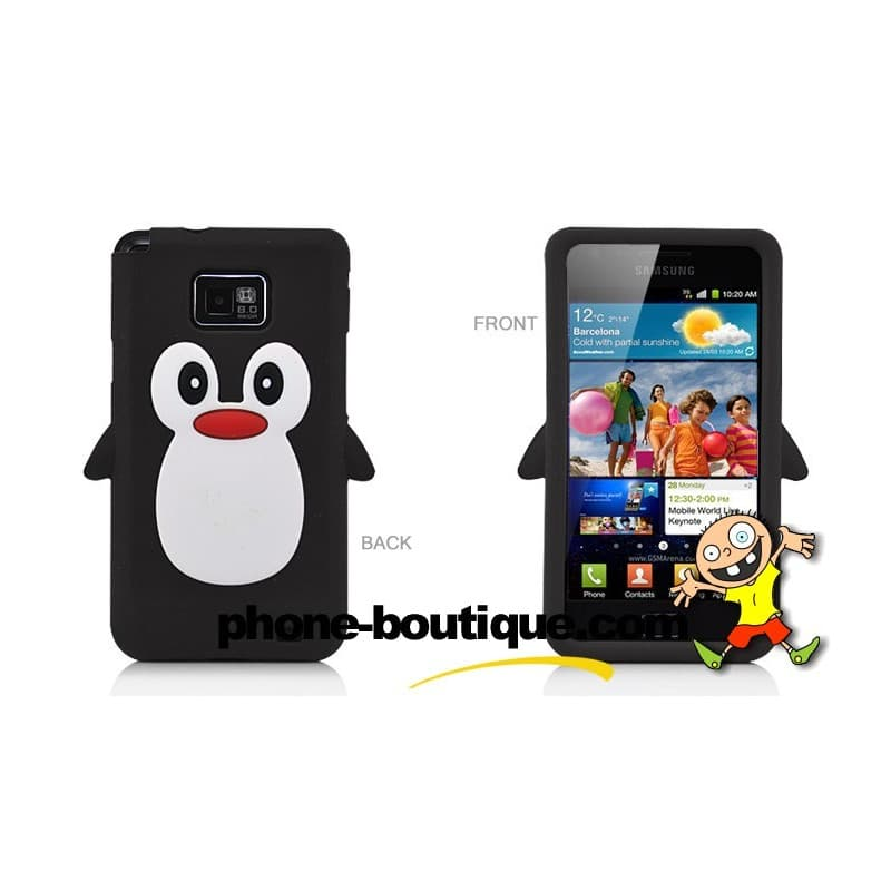 coque pingouin noire pour samsung galaxy s2. Black Bedroom Furniture Sets. Home Design Ideas