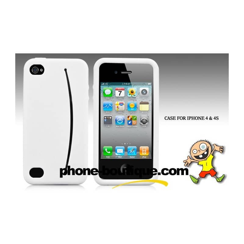 coque smiley blanche pour iphone 4 et 4s. Black Bedroom Furniture Sets. Home Design Ideas