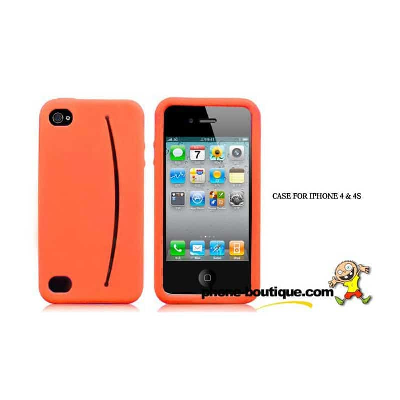 coque smiley orange pour iphone 4 et 4s. Black Bedroom Furniture Sets. Home Design Ideas