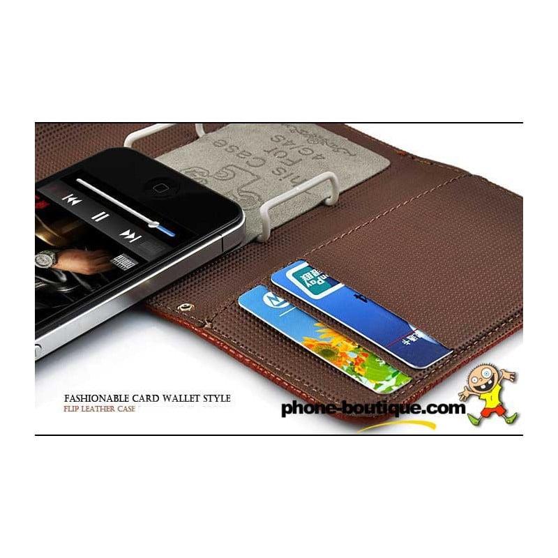 etui rabattable portefeuille marron pour iphone 4 et 4s. Black Bedroom Furniture Sets. Home Design Ideas