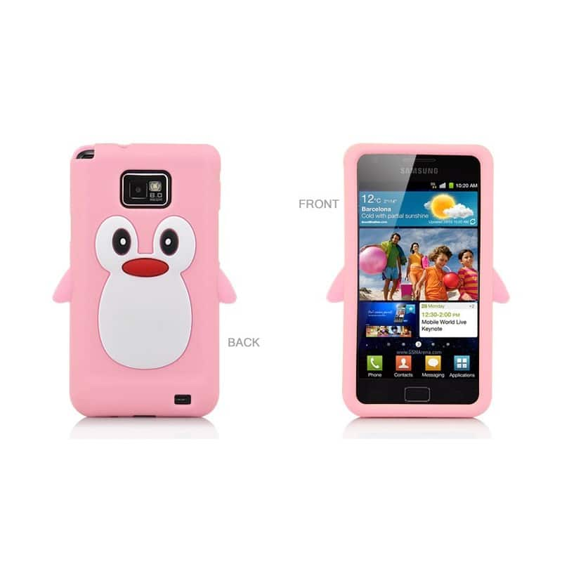 coque pingouin rose pour samsung galaxy s2. Black Bedroom Furniture Sets. Home Design Ideas