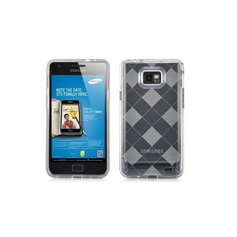 coque damier transparente pour samsung galaxy s2. Black Bedroom Furniture Sets. Home Design Ideas