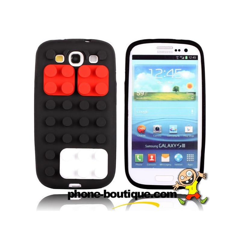 coque lego 3d noire pour samsung galaxy s3. Black Bedroom Furniture Sets. Home Design Ideas
